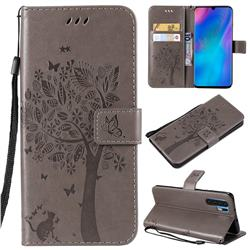 Embossing Butterfly Tree Leather Wallet Case for Huawei P30 Pro - Grey