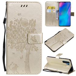 Embossing Butterfly Tree Leather Wallet Case for Huawei P30 Pro - Champagne