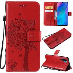 Embossing Butterfly Tree Leather Wallet Case for Huawei P30 Pro - Red