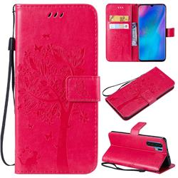 Embossing Butterfly Tree Leather Wallet Case for Huawei P30 Pro - Rose
