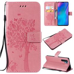 Embossing Butterfly Tree Leather Wallet Case for Huawei P30 Pro - Pink