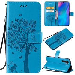 Embossing Butterfly Tree Leather Wallet Case for Huawei P30 Pro - Blue