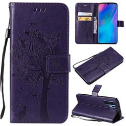 Embossing Butterfly Tree Leather Wallet Case for Huawei P30 Pro - Purple