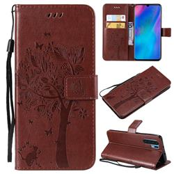 Embossing Butterfly Tree Leather Wallet Case for Huawei P30 Pro - Coffee