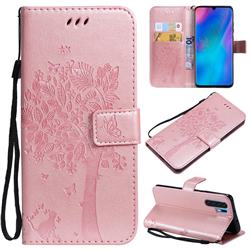 Embossing Butterfly Tree Leather Wallet Case for Huawei P30 Pro - Rose Pink