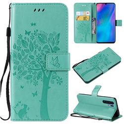 Embossing Butterfly Tree Leather Wallet Case for Huawei P30 Pro - Cyan