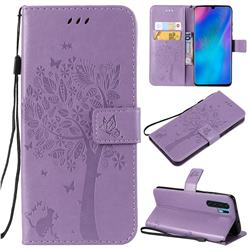 Embossing Butterfly Tree Leather Wallet Case for Huawei P30 Pro - Violet