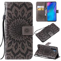 Embossing Sunflower Leather Wallet Case for Huawei P30 Pro - Gray