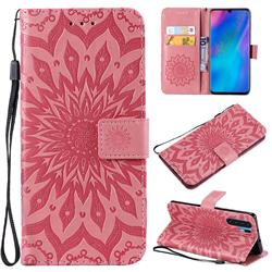 Embossing Sunflower Leather Wallet Case for Huawei P30 Pro - Pink