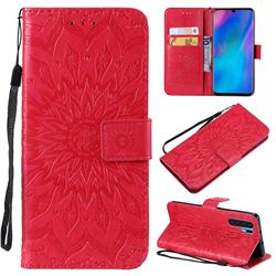 Embossing Sunflower Leather Wallet Case for Huawei P30 Pro - Red