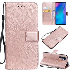 Embossing Sunflower Leather Wallet Case for Huawei P30 Pro - Rose Gold