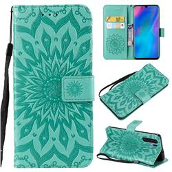 Embossing Sunflower Leather Wallet Case for Huawei P30 Pro - Green