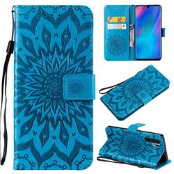 Embossing Sunflower Leather Wallet Case for Huawei P30 Pro - Blue