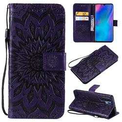 Embossing Sunflower Leather Wallet Case for Huawei P30 Pro - Purple