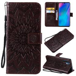 Embossing Sunflower Leather Wallet Case for Huawei P30 Pro - Brown