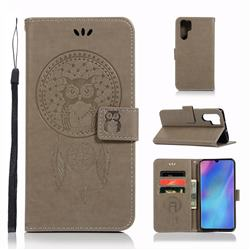 Intricate Embossing Owl Campanula Leather Wallet Case for Huawei P30 Pro - Grey