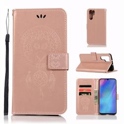 Intricate Embossing Owl Campanula Leather Wallet Case for Huawei P30 Pro - Rose Gold