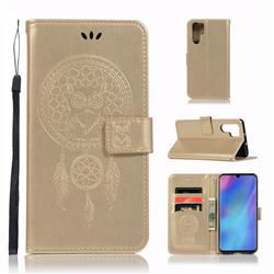 Intricate Embossing Owl Campanula Leather Wallet Case for Huawei P30 Pro - Champagne