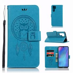 Intricate Embossing Owl Campanula Leather Wallet Case for Huawei P30 Pro - Blue
