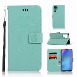 Intricate Embossing Owl Campanula Leather Wallet Case for Huawei P30 Pro - Green