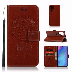 Intricate Embossing Owl Campanula Leather Wallet Case for Huawei P30 Pro - Brown
