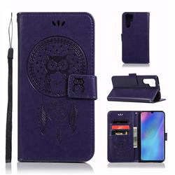 Intricate Embossing Owl Campanula Leather Wallet Case for Huawei P30 Pro - Purple