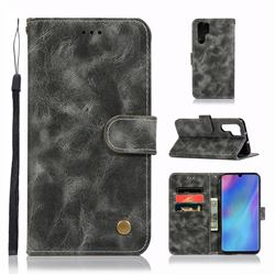Luxury Retro Leather Wallet Case for Huawei P30 Pro - Gray