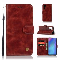 Luxury Retro Leather Wallet Case for Huawei P30 Pro - Wine Red