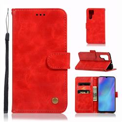 Luxury Retro Leather Wallet Case for Huawei P30 Pro - Red