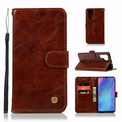 Luxury Retro Leather Wallet Case for Huawei P30 Pro - Brown