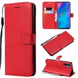 Retro Greek Classic Smooth PU Leather Wallet Phone Case for Huawei P30 Pro - Red