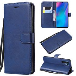 Retro Greek Classic Smooth PU Leather Wallet Phone Case for Huawei P30 Pro - Blue