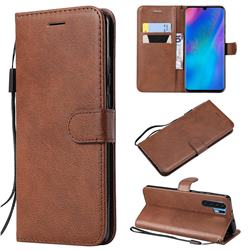 Retro Greek Classic Smooth PU Leather Wallet Phone Case for Huawei P30 Pro - Brown