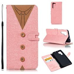 Mens Button Clothing Style Leather Wallet Phone Case for Huawei P30 Pro - Pink
