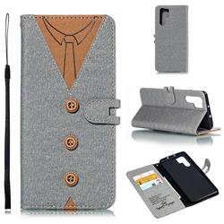 Mens Button Clothing Style Leather Wallet Phone Case for Huawei P30 Pro - Gray