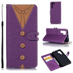 Mens Button Clothing Style Leather Wallet Phone Case for Huawei P30 Pro - Purple