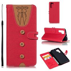 Ladies Bow Clothes Pattern Leather Wallet Phone Case for Huawei P30 Pro - Red