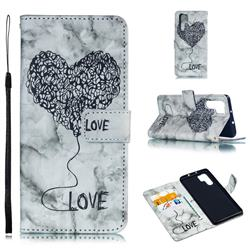 Marble Heart PU Leather Wallet Phone Case for Huawei P30 Pro - Black