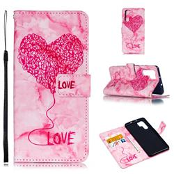 Marble Heart PU Leather Wallet Phone Case for Huawei P30 Pro - Red