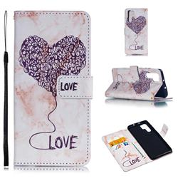 Marble Heart PU Leather Wallet Phone Case for Huawei P30 Pro - Purple
