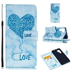 Marble Heart PU Leather Wallet Phone Case for Huawei P30 Pro - Blue