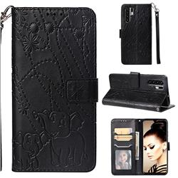 Embossing Fireworks Elephant Leather Wallet Case for Huawei P30 Pro - Black