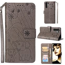 Embossing Fireworks Elephant Leather Wallet Case for Huawei P30 Pro - Gray