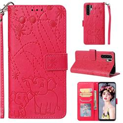 Embossing Fireworks Elephant Leather Wallet Case for Huawei P30 Pro - Red