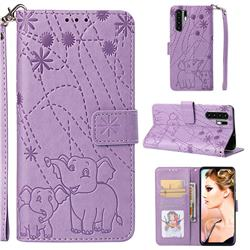 Embossing Fireworks Elephant Leather Wallet Case for Huawei P30 Pro - Purple