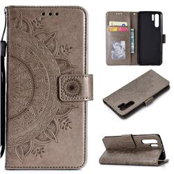 Intricate Embossing Datura Leather Wallet Case for Huawei P30 Pro - Gray