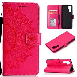 Intricate Embossing Datura Leather Wallet Case for Huawei P30 Pro - Rose Red