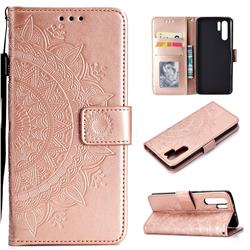 Intricate Embossing Datura Leather Wallet Case for Huawei P30 Pro - Rose Gold