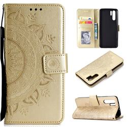 Intricate Embossing Datura Leather Wallet Case for Huawei P30 Pro - Golden