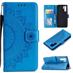 Intricate Embossing Datura Leather Wallet Case for Huawei P30 Pro - Blue